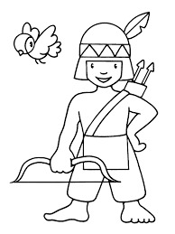 Little Indian Boy For Children Coloring Pages