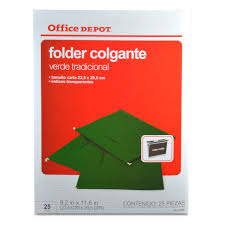 FOLDER COLGANTE OFFICE DEPOT VERDE CARTA 25 P