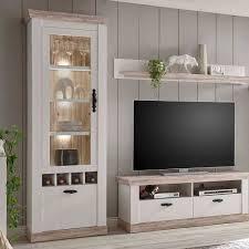 landhaus wohnzimmer möbel set nedita in weiß pinie 4 teilig