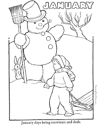 Free Printable January Coloring Book Page