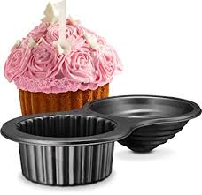 Gourmia GPA9395 Giant Cupcake Pan Double Sided Two Half Design With Swirl Top Mold