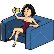 Asian woman taking selfie on an armchair Image isolated on white background Transparent PNG