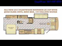 Fleetwood Bounder Floor Plans Colors 2017 Fleetwood Bounder Lx 35p Quad Slide Out Big Chassis King Bed