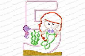 Mermaid 5th Birthday Applique Embroidery Design Kris Rhoades