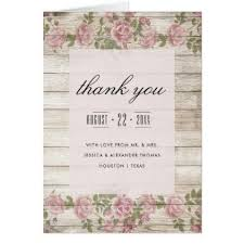 Rustic Roses On Wood Wedding Thank You Card