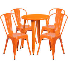 Flash Furniture | 24'' Round Orange Metal Indoor-Outdoor Table Set With 4  Cafe Chairs Restaurant Fniture In Alaide Tables And Chairs Cafe Fniture Projects Harrows Nz Stackable Caf Widest Range 2 Years Warranty Nextrend Western Fast Food Cafe Chairs Negoating Tables 35x Colourful Gecko Shell Ding Newtown Powys Stock Photo 24 Round Metal Inoutdoor Table Set With Due Bistro Chair Table Brunner Uk Pink Pool Design For Cafes Modern Background
