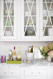 kitchen with marble chevron backsplash transitional kitchen