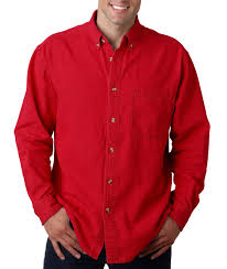ultraclub long sleeve cypress denim with pocket solid button up