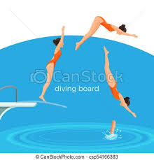 Diving Board And Female Swimmer In Swimsuit That Jumps