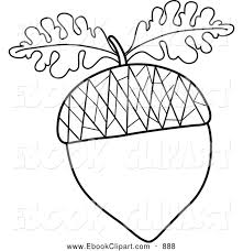 Vector Clip Art of a Coloring Page of a Black and White Acorn Outline with Oak