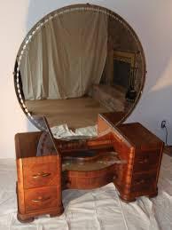 Waterfall Vanity Dresser Set by Art Deco Vanity With Round Mirror Round Designs