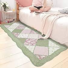ustide rutschfeste waschbare badezimmermatte heimdekoration baumwollteppich patchwork teppich grün kariert für schlafzimmer dekoration