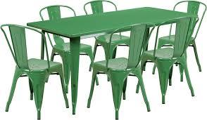 315 X 63 Rectangular Green Metal Indoor Outdoor Table Set With 6 Stack