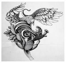 Stencil Of Mexican Eagle Tattoo