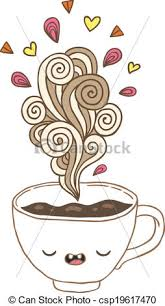 Cute Cartoon Coffee Cup With Doodle Steam