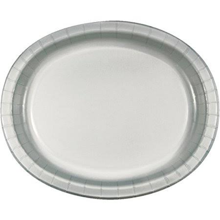 "Creative Converting Shimmering Silver Oval Paper Platters - 96ct, 10"" X 12"""