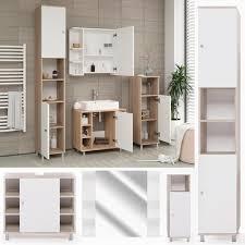badmöbel set fynn weiß eiche sonoma badezimmer spiegel waschtisch kommode unterschrank badschrank badspiegel