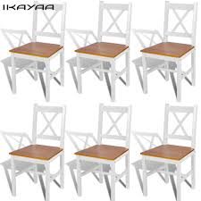 IKayaa 6 Pcs Dining Chairs Comedo White Pine Wood And ... Artiss 2x Ding Chairs French Provincial Kitchen Cafe Scdinavian Modern Pine From Glostrup Mobelfabrik 1970s Set Of 6 Amazoncom Benjara Classic Wood Of Harmonious Wooden Room Office Pdx Budget Mexican Full Size Mar Pro Csc 018 Retro Solid Chair Devon Rustic Table Urban 2 Contemporary White Faux Leather High Back 60s Rainer Daumiller Pine Wood Ding Chair Set4 Details About 3 Pcs Wstool Fniture Black Buy Product On Alibacom Hot Item With 24 Antique