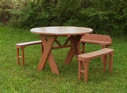 round picnic table iron wood