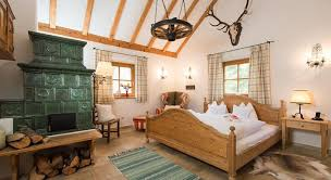 Antlers Wooden Bed Rustic Style Austria Hotel Design