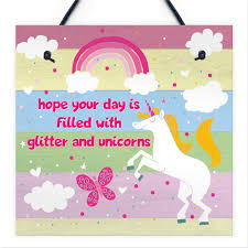 Glitter Unicorn Rainbow Plaque Girls Bedroom Accessory Pink Sign