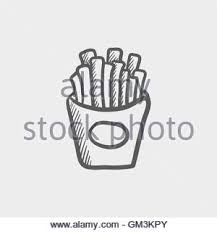 French fries sketch icon Stock