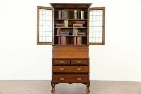 Antique Secretarys Desk by English Oak Antique 1915 Secretary Desk Leaded Glass Bookcase Top
