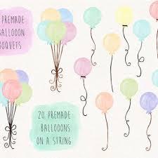 Balloons Clip Art Watercolor Balloon Clipart Birthday Balloon Illustration Hand Pai