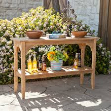 Custom DIY Rustic Outdoor Console Table With Stair Baluster Storage Ideas