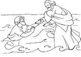 Bible Coloring Pages Peter Walking On Photo Gallery Of Walks Water Page