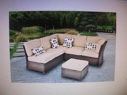 cadence wicker 3 piece outdoor sectional sofa set tan seats 5 ebay