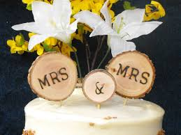 Lesbian Wedding Cake Topper Tree Slice