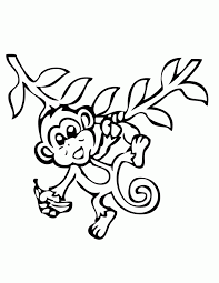 Shining Ideas Monkey Coloring Page Pages With Banana Free Printable