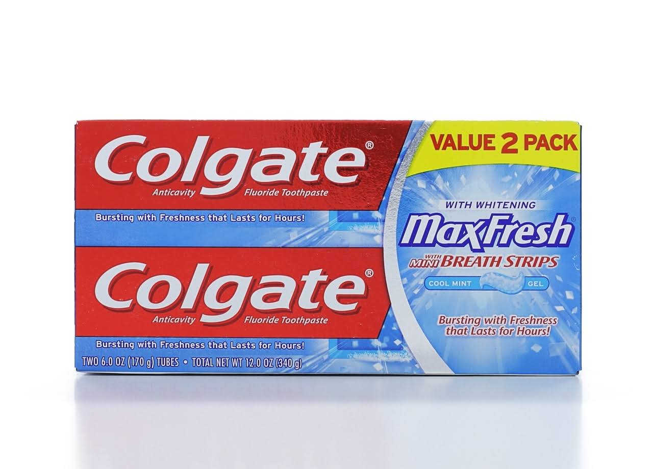 Colgate MaxFresh with Whitening Toothpaste - Cool Mint, 6.0oz, 2 pack