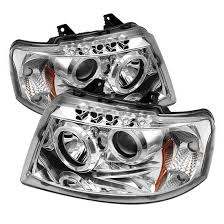 03 06 ford expedition chrome led halo rings led projector headlights