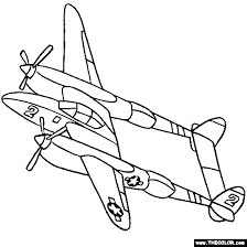 Airplane With Two Propeller Blades Coloring Pages For Kids Printable Airplanes