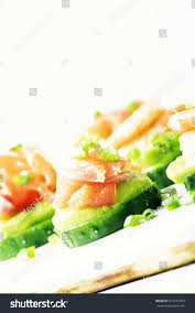 canape mousse canape cucumber avocado mousse salmon shrimp stock photo 574771093