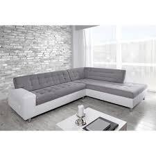 java canapé d angle droit 6 places tissu gris et simili blanc