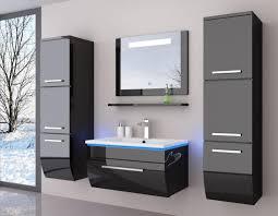 90 schwarz hochglanz 90 cm badmöbel set bad möbel komplett set incl led system fertig montiert lackiert 6 teilig badezimmer hochschrank