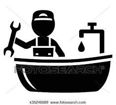 klempner auf badezimmer symbol clip k35246589