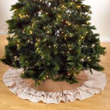 56 Inch Burlap Tree Skirt For Christmas Ivory Ruffle