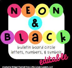 Editable Neon Rainbow Bright Circle Bulletin Board Letters Numbers