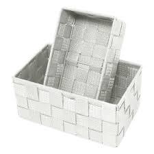geflochtene badkörbchen 19x10x7 cm und 20x13x10 cm 2er pack dekokörbe offen aufbewahrungsboxen farbe silber