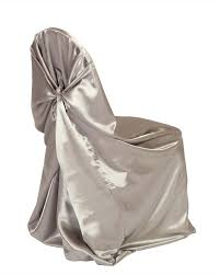 Ivory Satin Universal Tieback Chair Cover With Purple ...