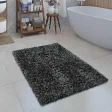 details zu moderne badematte badezimmer teppich shaggy kuschelig weich einfarbig grau
