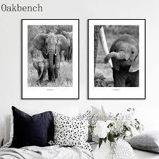 grau elefanten nordic poster bild wand kunst leinwand