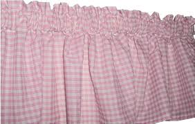 16 inch Pink Gingham Window Valance