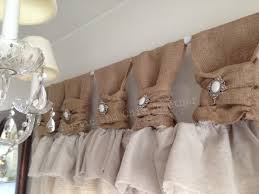Burlap Linen Curtains With Jewelry Accent