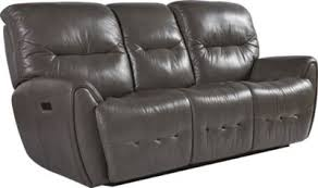 flexsteel blaise gray leather power reclining sofa homemakers