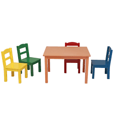 Details About Wooden Kids 5 Piece Table Chair Set Solid Hard Wood Sturdy  Child Table 3 Colors
